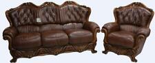 Dante 3 Seater + 1 Seater Armchair Italian Leather Sofa Suite Tabak Brown