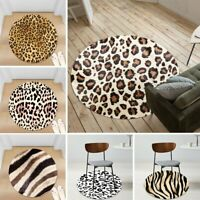 Leopard Fur Print Non-slip Round Soft Area Rug Floor Carpet Door Mat Home Decor