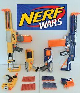 Nerf Gun Blaster Lot Of 6 Retaliator Recon CS6 Maverick Blue v Yellow Nerf War!