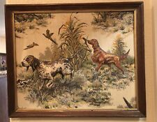 Vintage 3D Framed Stuffed Fabric Wall Hanging Hunting Dogs & Pheasants for Lodge