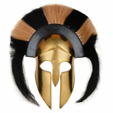 Brass Antique Greek Corinthian Armor Helmet With Black & White Plum