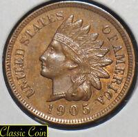 1905 Indian Head Cent 1c Choice AU Penny Copper