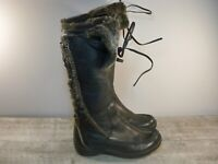 Blondo Canada Shearling Black Leather Women's Snow Lace Up Mid Calf Boots Size 7