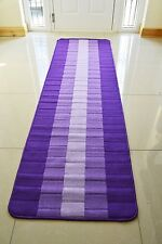 Non Slip Machine Washable Kitchen Hall Utility Modern Colourful Runner Rug Mat Purple / Lilac 50 X 80 Cms