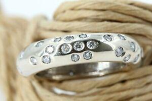 1,08 ct. Diamant Ring Gold 750 Weißgold 18 K Memory Ring VS1 H Größe 57