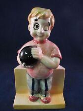 Vintage Figural Ceramic Planter Man Bowling One Eye Concentration Bowling Kitsch