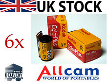 Paquete De 6: Kodak Colorplus 200 35mm 24 exposiciones ISO 200 película negativa de Color, Nuevo