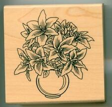 Inkadinkado rubber stamp Lilies In Vase wood mounted, Flowers