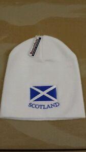 SCOTTISH SCOTS SCOTLAND SALTIRE BEANIE HAT IN WHITE