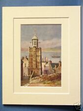 YOUGHAL OLD CLOCK TOWER MUNSTER IRELAND VINTAGE DOUBLE MOUNTED PRINT c1920 10X8