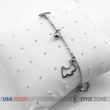 Women Girl Stainless Steel Animal Pet Dog Ball Charm o Link Chain Bracelet B71