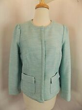 Talbots Petites Women Dress Suit Jacket Sz 10P Turquoise L/S Lined Boucle tweed
