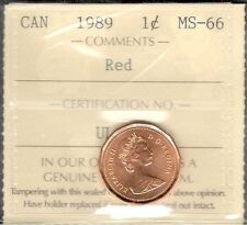 1989 Small Cent ICCS Certified MS-66 RED GEM+ ** STUNNING Graded Canada Penny
