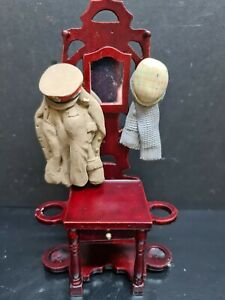 dolls house furniture mahogany hall stand with uniform/hat and scarf  1.12th