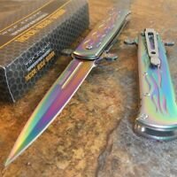 TAC-FORCE Rainbow Titanium Spring Assisted Opening Folding Pocket Knife NEW!