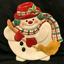 Fitz & Floyd Plaid Christmas Snowman Tray Appetizer Dish Wall Hanging 9X8""