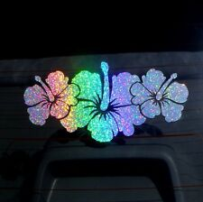 HIBISCUS Flower Cluster Holographic Car Sticker Rainbow Colours Decal 19cm
