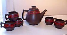 Vintage Abenakis Beauce Pottery Teapot & Cup Mug Set Quebec Canada