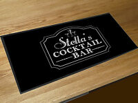 Personalised Classic Cocktail Bar Grey Bar runner counter mat Cocktails Bar