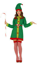Ladies Santas Helper Elf Costume Christmas Fancy Dress Womens Outfit 10-12 14-16
