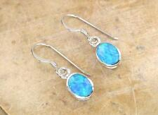 ELEGANT STERLING SILVER OPAL DROP EARRINGS  style# e0297