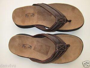 Omega C4083M Suede leather Flip Flops Men' Sandals Brown 7M