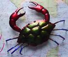 Superb METAL TIN CRAB Iridescent Painted Beach Hut Lobster Pot Wall Hanging