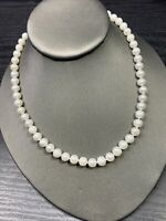"Vintage White Round Freshwater  Pearl Beaded  Necklace  Beaded Chain 16"" Length"