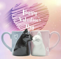 Luxury Kiss Cat Cups Couple Ceramic Mugs Married Couples Anniversary 2pcs