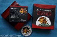 2013 Tuvalu Plata Prueba $1 un dólar moneda cuello de volantes Lizard