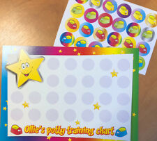 Personalised potty training chart & 24 stickers - colourful design - any reward