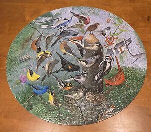 500 Pieces Vintage SPRINGBOK CIRCULAR  Puzzle FAMILIAR BIRDS W. Dilger With Box