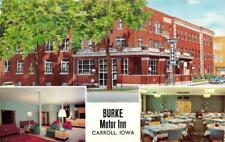 CARROLL, IA Iowa  BURKE MOTOR INN Lobby~Dining ROADSIDE c1950's Chrome Postcard