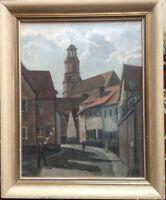 ::OTTO LOTZ ° ALTSTADT Blick durch die Neustift auf St. Georg  ÖLGEMÄLDE 1949