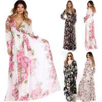 Summer Women Vintage Chiffon Boho Long Maxi Party Beach Dress Floral Sundress