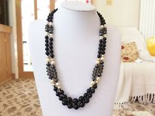 Brand new double strand necklace with black grey gold and pearl  beads