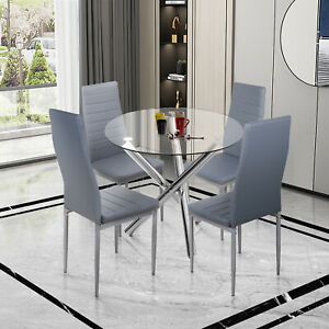 Round Dining Table with 4 Faux Leather Chairs High Back Padded Seat Kitchen Cafe