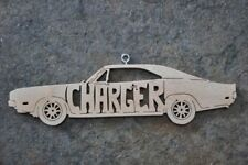 Charger  Vintage  Car Wood Christmas Ornaments Hand Cut USA Hot Rod