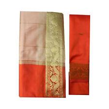 Sari indiano arancione beige broccato abito tradizionale Bindi donna poliestere