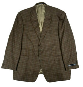 Hart Schaffner Marx Modern 2btn Dark Brown Plaid Sportcoat 50 R Reg USA Made