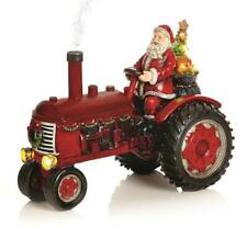 PREMIER DECORATIONS 29CM LIT TRACTOR WITH SANTA AND SMOKING EXHAUST CHRISTMAS
