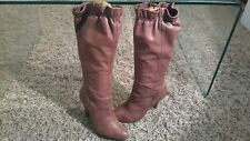 FAITH DISTRESSED LEATHER KNEE BOOTS.GATHERED TOP. SIZE 5