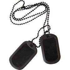MILITARY BLACK DOG TAGS ARMY ID TAG NECKLACE MENS BOYS FANCY DRESS SILENCERS