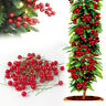 100X Artificial Red Holly Berry Christmas Decor On Wire Bundle Garland Wreath UK
