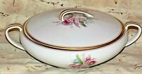 Noritake Lidded Vegetable Casserole Serving Bowl Gold Rim Floral Dish Japan
