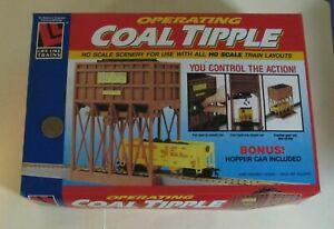ho OPERATING COAL TIPPLE with COAL & HOPPER for Model Train Layouts - Life-Like