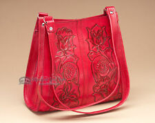 Southwestern Tooled Leather Purse -Red (419)