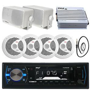 """6.5"""" 150W Marine Speakers, 3.5"""" Speakers,Bluetooth Black USB Radio, Antenna, Amp"""