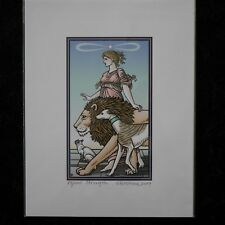 """Tarot of the Sevenfold Mystery Print """"Strength"""" Signed Numbered Robert M Place"""