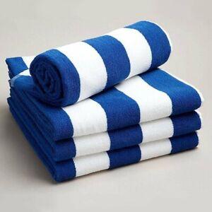 Soft Beach Towel Pool Towel 100% Cotton Velour Striped Chlorine Resistant